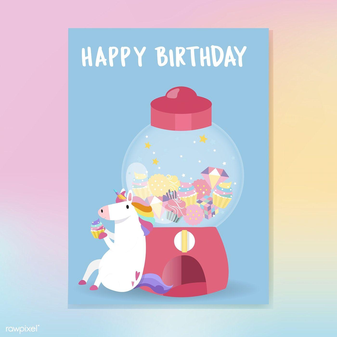 Cute unicorn happy birthday card vector free image by