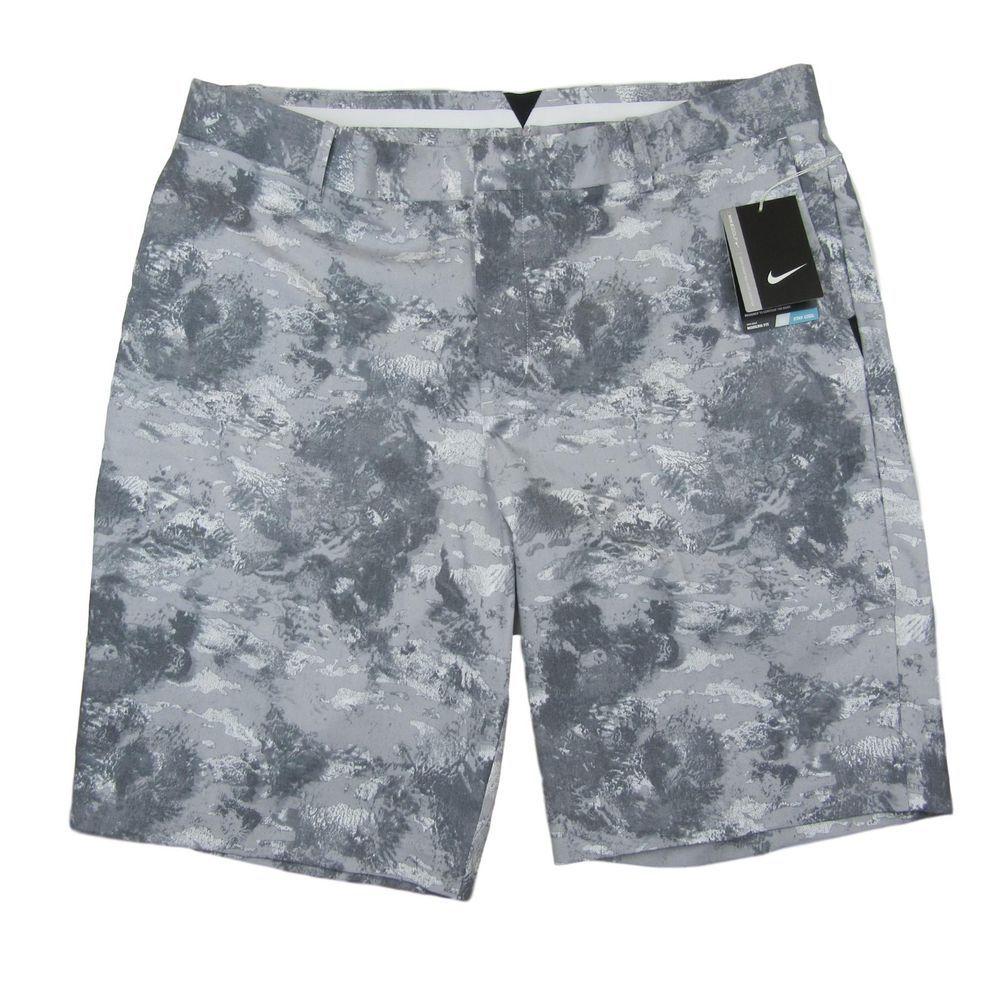 Nike camo golf shorts size 32 mens grey white drifit