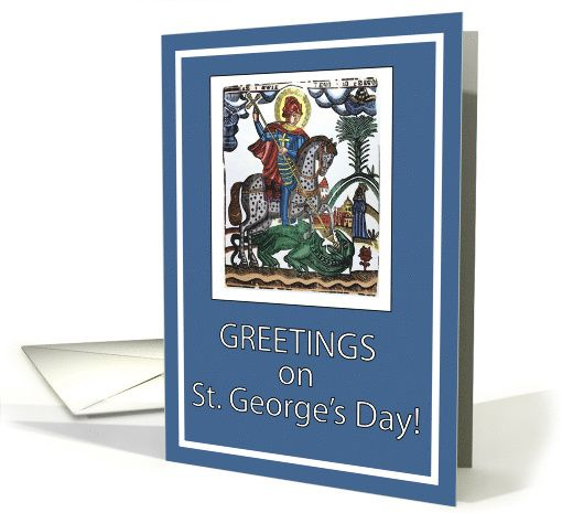 Greetings on st georges day blue card 378422 saints feast days explore st georges day holiday cards and more m4hsunfo