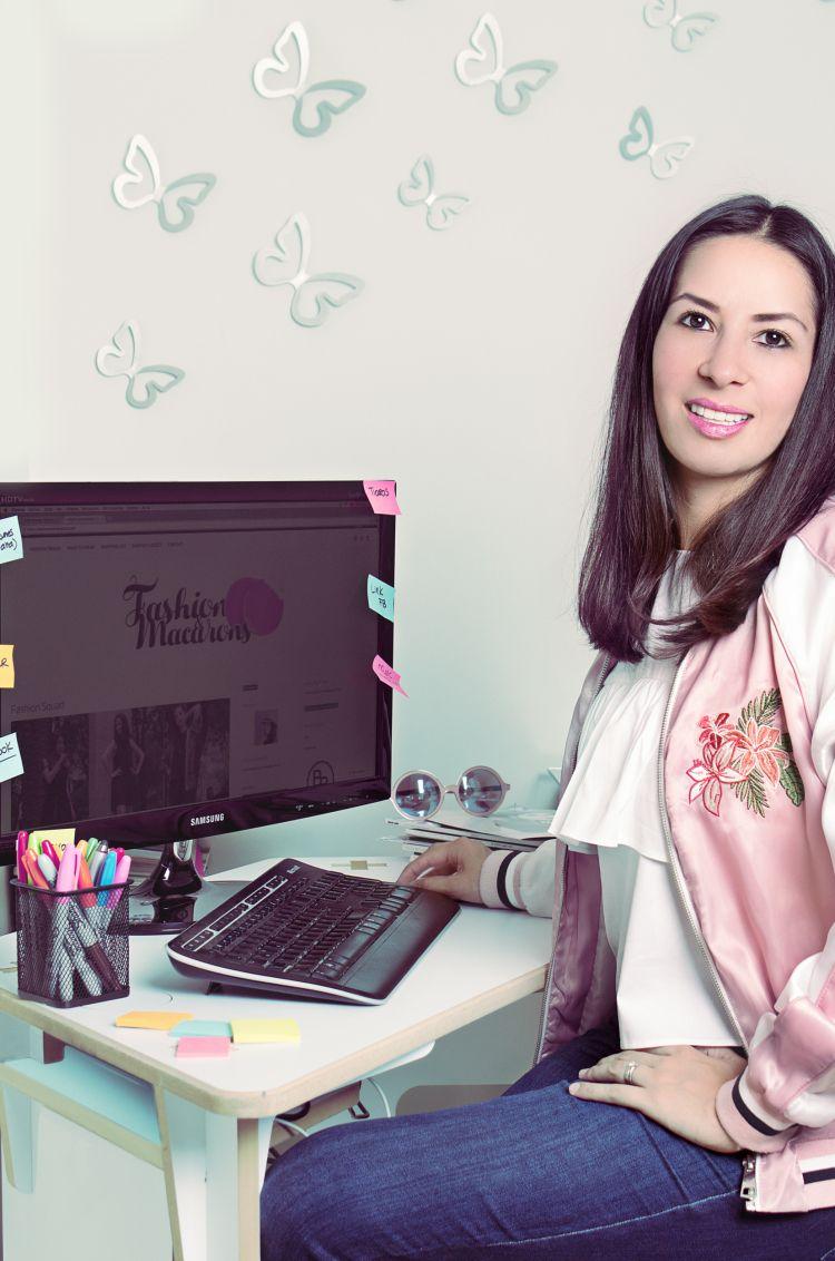 My blogger desk, bomber jacket