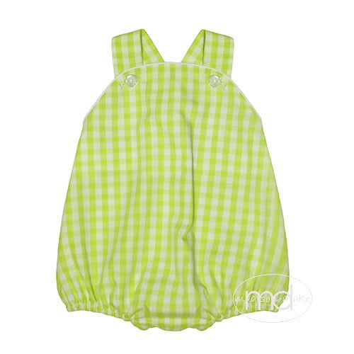 Lime Green Check Baby Boys / Girls Monogram Bubble by ...