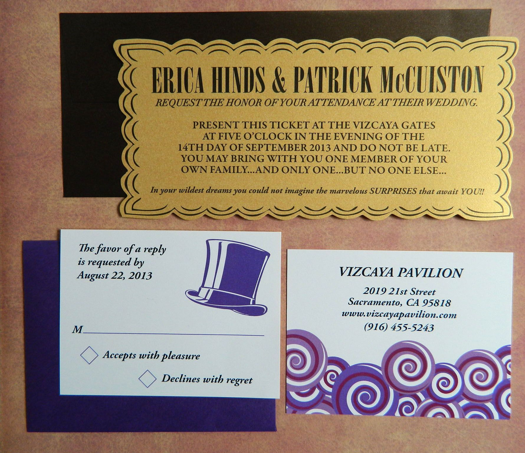 Willy Wonka Golden ticket custom die invitations Gala Pinterest