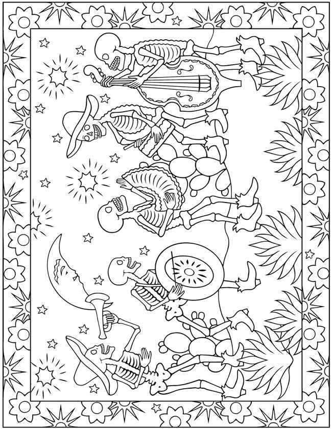 Dia de Los Muertos Coloring Page | cajas para imprimir | Pinterest ...