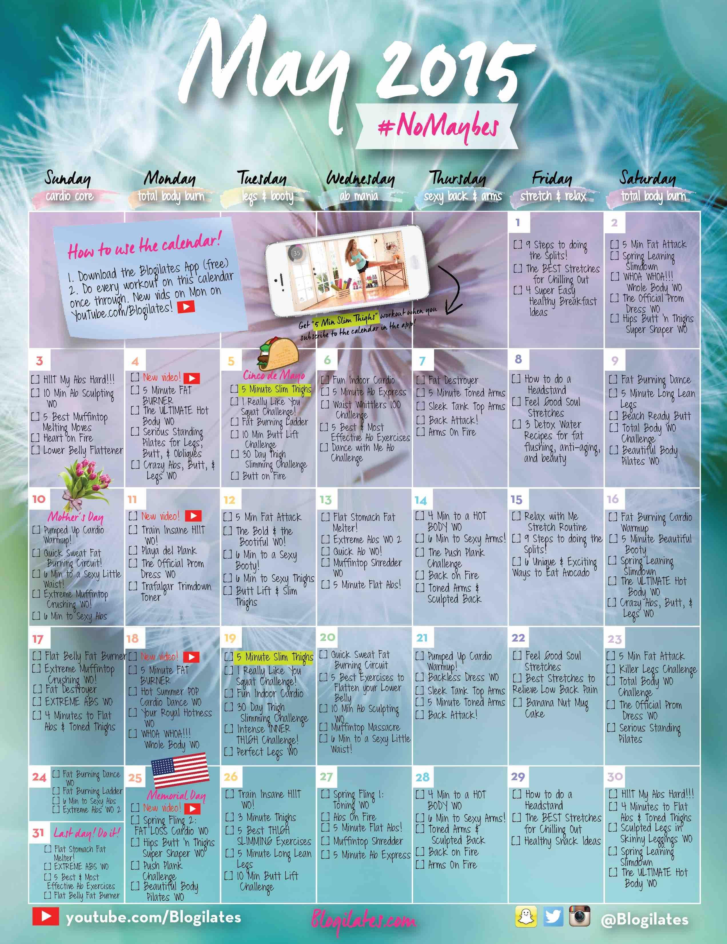 April Workout Calendar | Food And Drinks | Pinterest | Workout