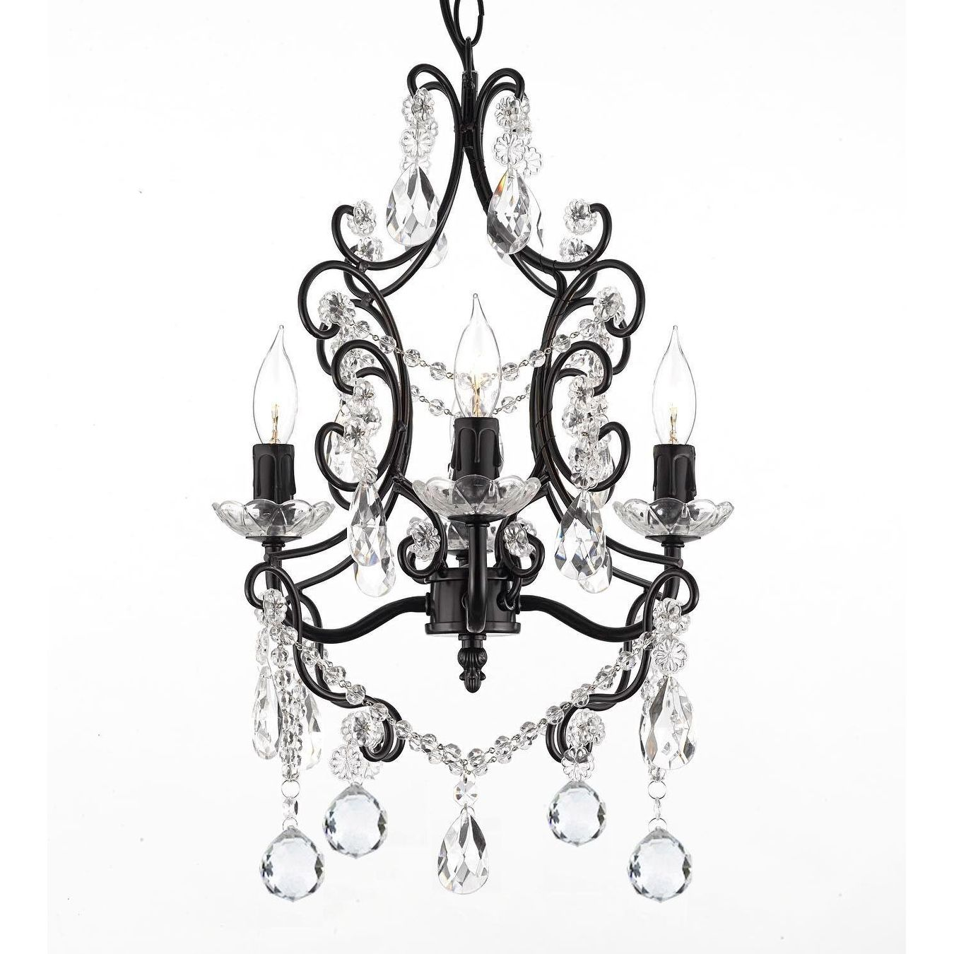 Wrought Iron Amp Crystal 4 Light Chandelier Pendant With