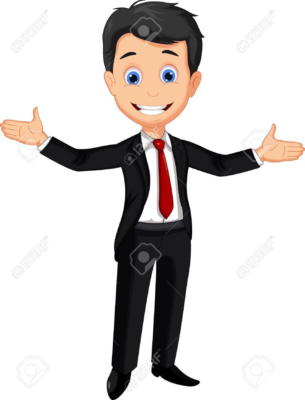 Business Man Cartoon Presenting Aff Man Business