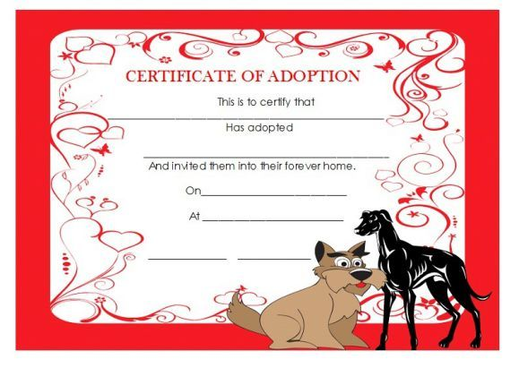 Adoption certificate template dog Adoption certificate template - best of pet health certificate template