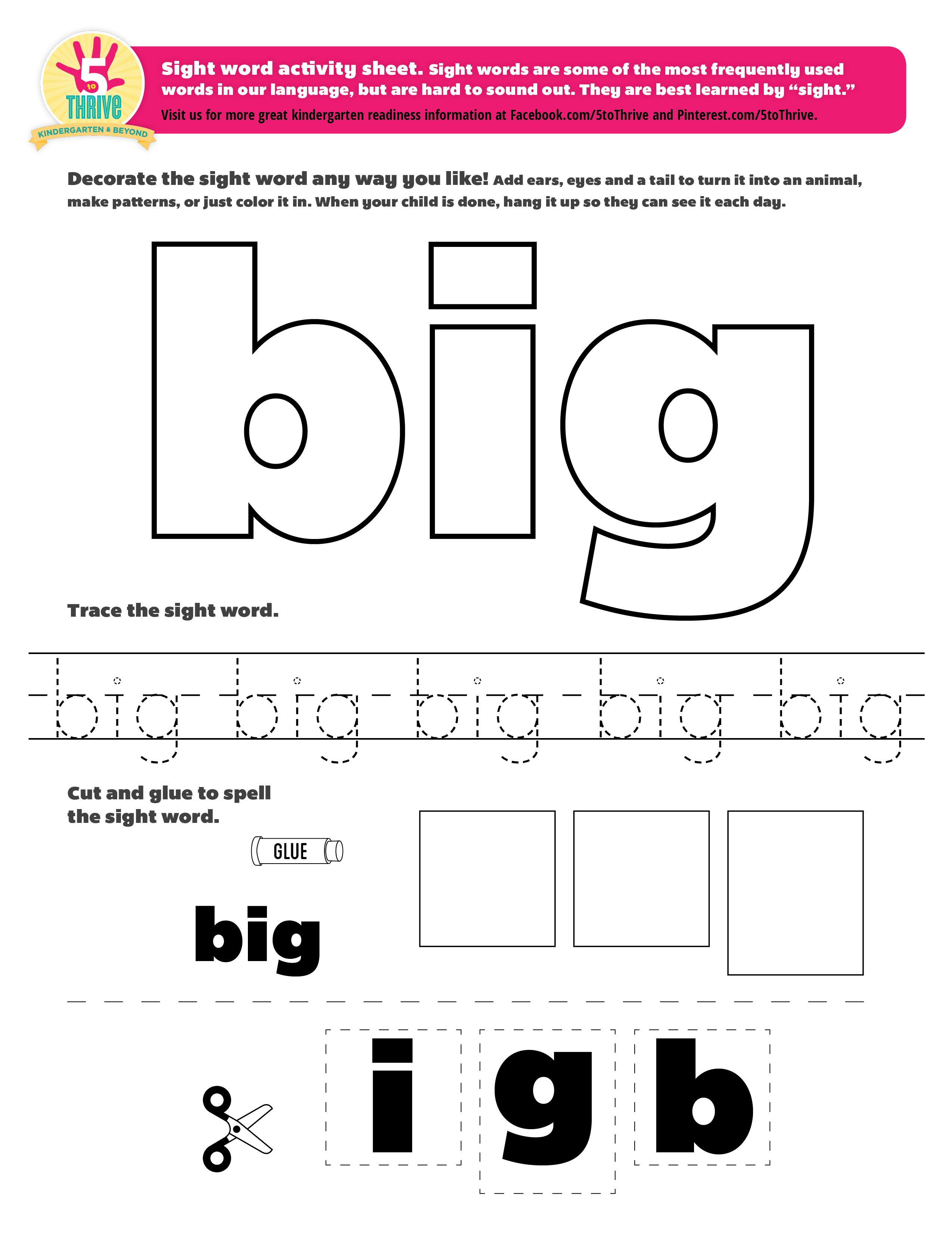 Sight Word Big Sight Words Are Some Of The Most Frequently Used Words In Our Language But Are Ha Sight Word Worksheets Sight Words Kindergarten Sight Words [ 3301 x 2550 Pixel ]