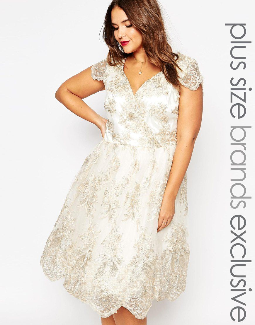 Image of chi chi london plus floral wrap front lace prom dress