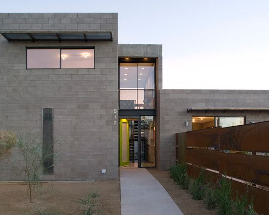 Modern concrete block front entry design ideas wonderful for Cinder block home plans