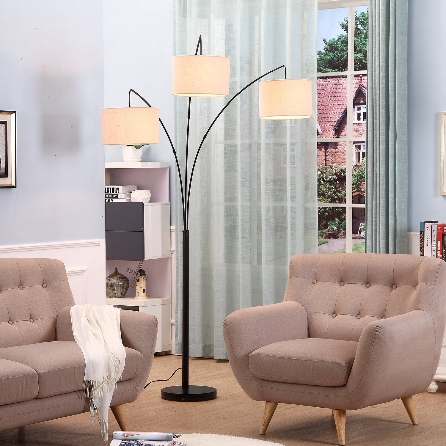 Brightech Trilage Led Floor Lamp A Tall Pole Modern Industrial Standing 3 Arm Arc 3 Arc Floor Lamps Living Room Floor Lamps Living Room Chandelier Floor Lamp #tall #living #room #floor #lamps