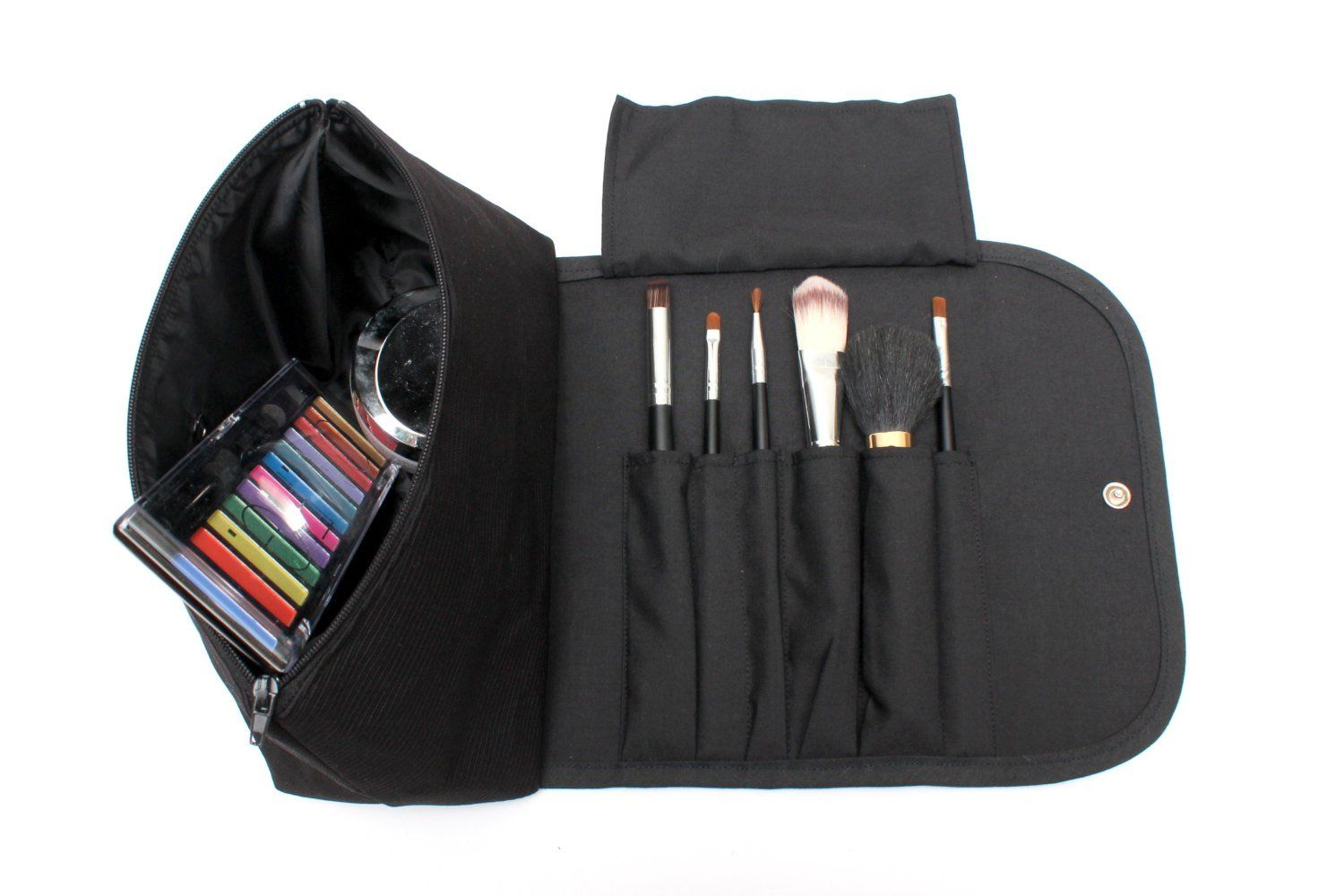 Black Obessed Large Makeup Bag with a Brush Holder Roll