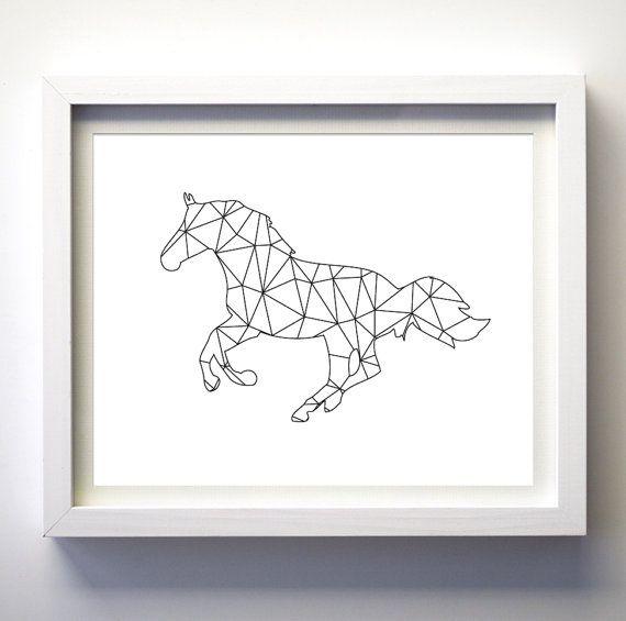 Imprimer de cheval impression noir et blanc par fancyprintsforhome lulu13 pinterest - Cheval a imprimer noir et blanc ...