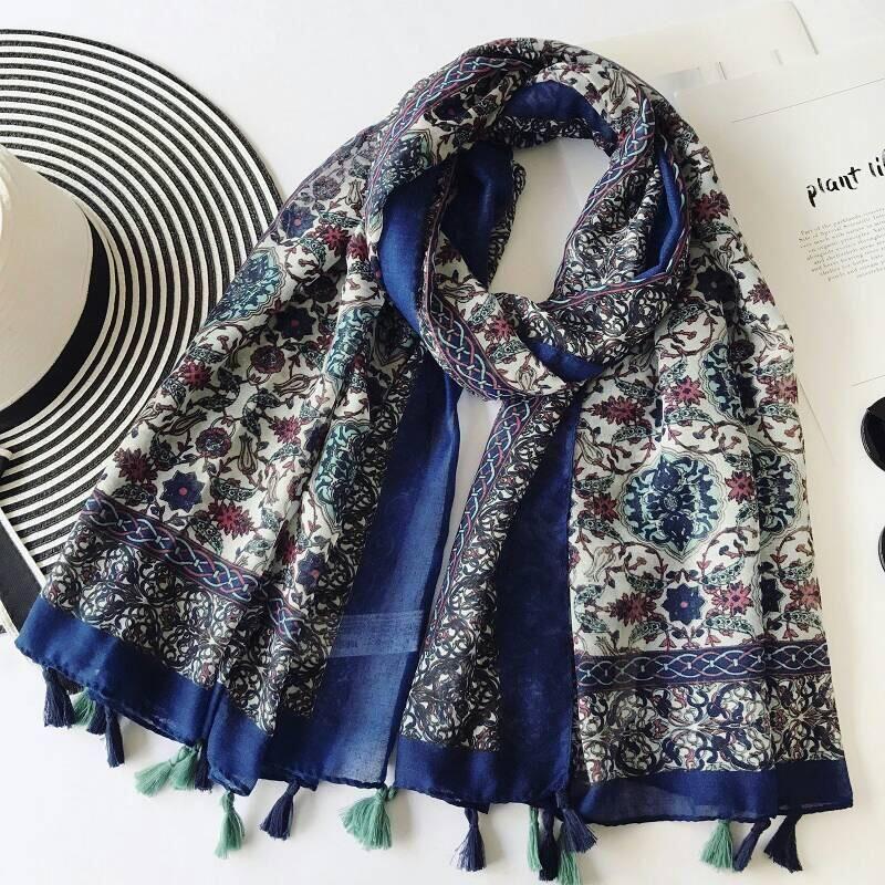 Iznik Garden Scarf | Islamic Floral Print Tassels Hijab