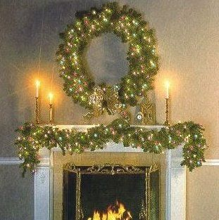 Fireplace Garland Christmas Mantle Decorations Lights Mantles Xmas Wreaths