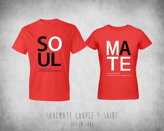 0390d30bf3 Cute Matching Soulmate Couple Tshirt by 365inlovedotcom on Etsy, $30.99