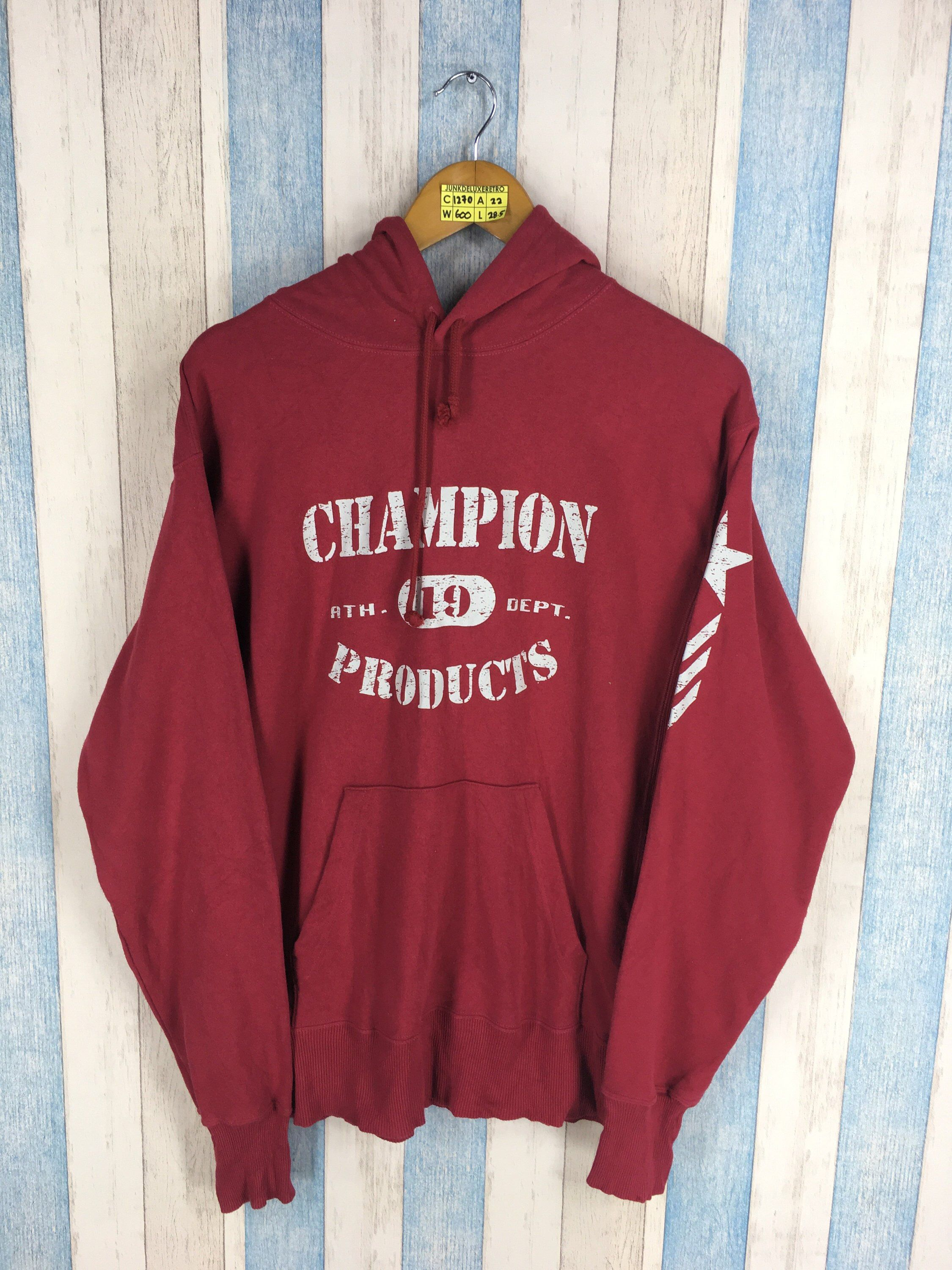 1e562bc0b4e8 CHAMPION PRODUCTS Hoodies Sweatshirt Unisex Medium Red Vintage 90s  Sportswear Swag Champion Usa Jacket Pullover Sweater Size M