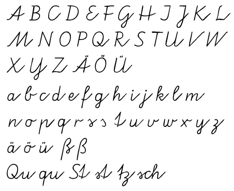 Vereinfachte Ausgangsschrift - Cursive - Wikipedia | Handwriting ...