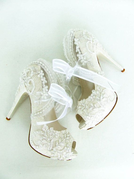 Ivory Lace Wedding Shoes For Bride With Pearls Etsy In 2020 Fun Wedding Shoes Lace Bridal Shoes Wedding Shoes