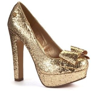 Blink Gold Glitter Bow Platform Court Shoes | SHOES......レ O √ 乇 ...