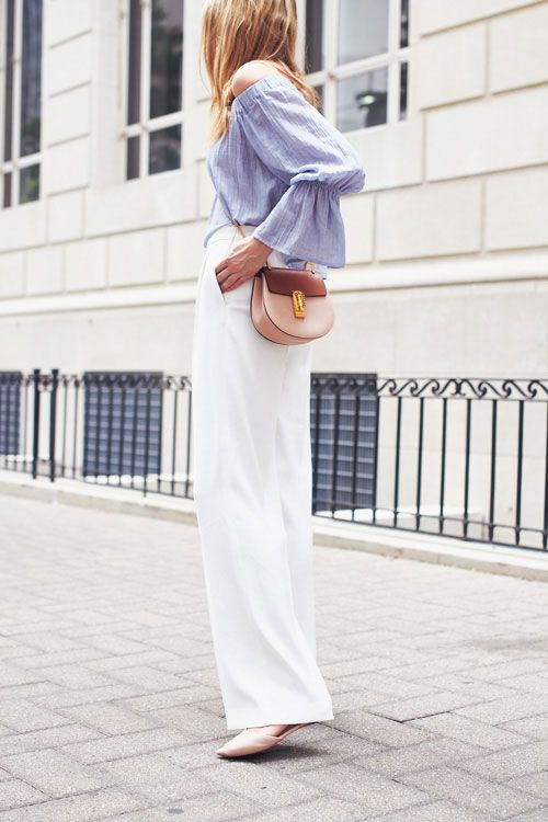bell sleeves + white wide legs