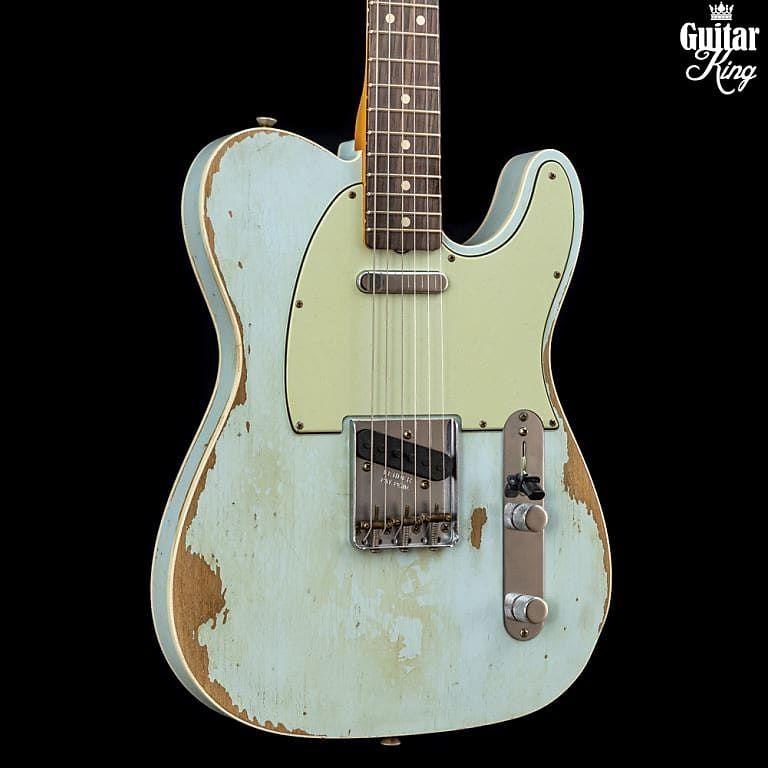Fender Custom Shop 63 Double Bound Telecaster Heavy Relic Sonic Blue Guitar King Reverb Telecaster Fender Custom Shop Sonic