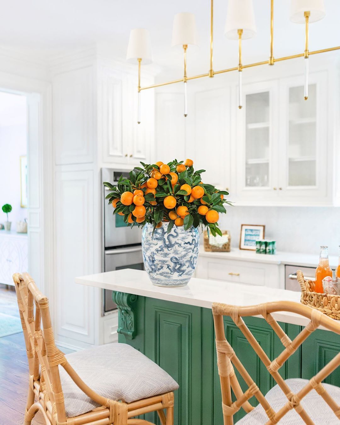 green and white kitchen with blue and white ginger jar by alexander interiors of nashville on kitchen interior green id=21344