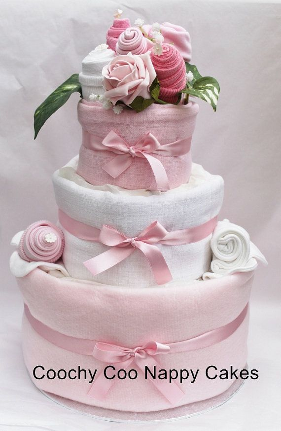 FREE POSTAGE!! 1 Tier Girl Pink Nappy Cake Baby Shower Gift