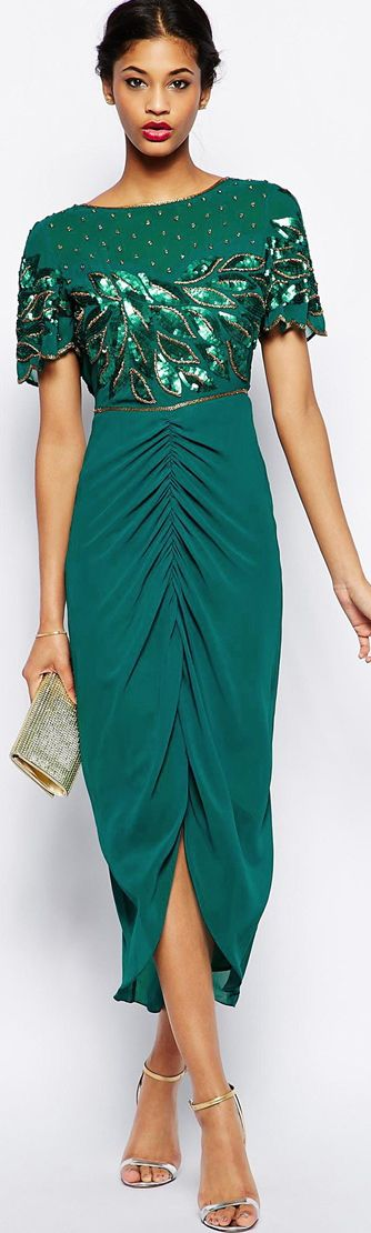 Virgos Lounge emerald dress  women fashion outfit clothing style apparel @roressclothes closet ideas