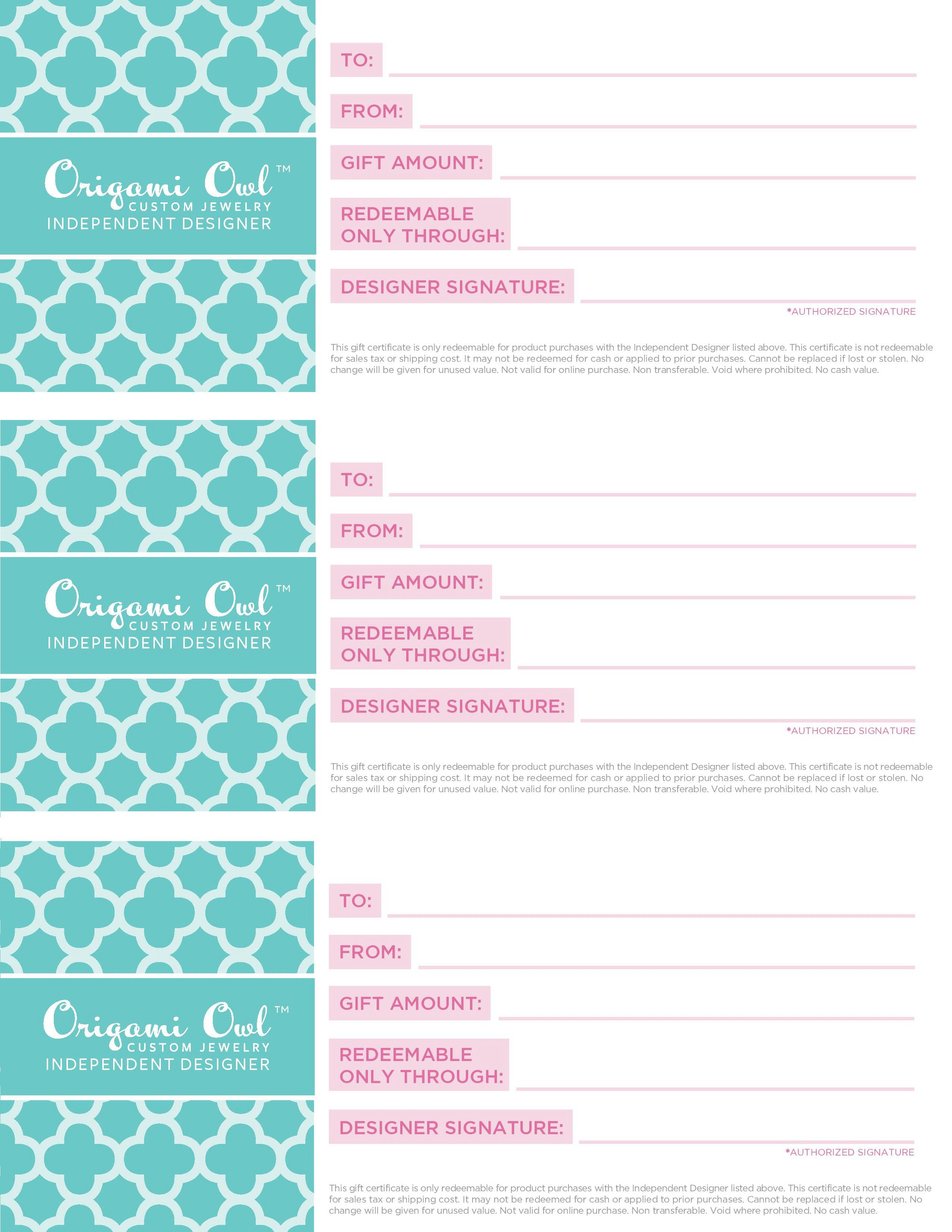 Origami Owl Gift Certificates Available Must Be Used With The