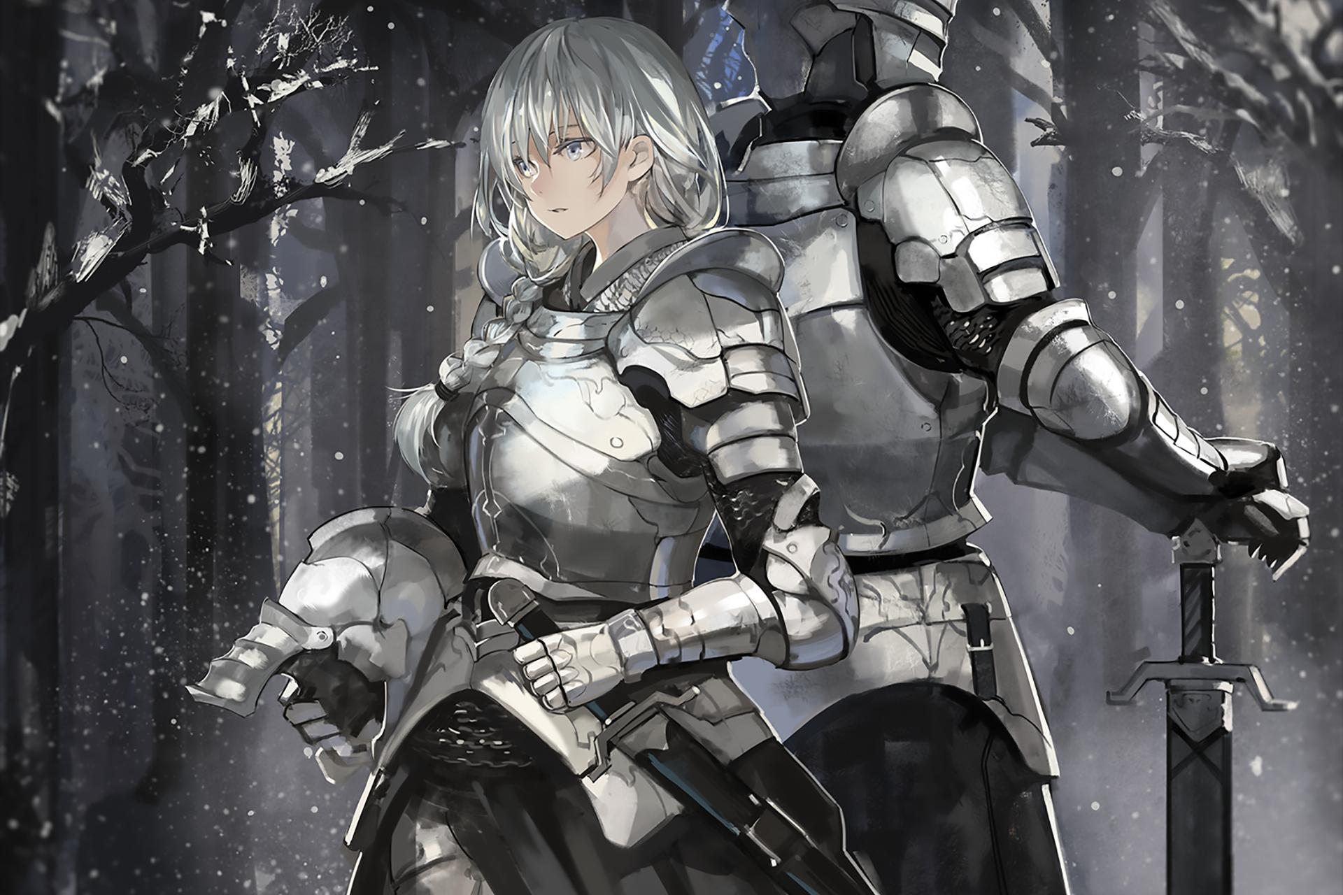 Anime Original Girl Armor Knight White Hair Snow Sword