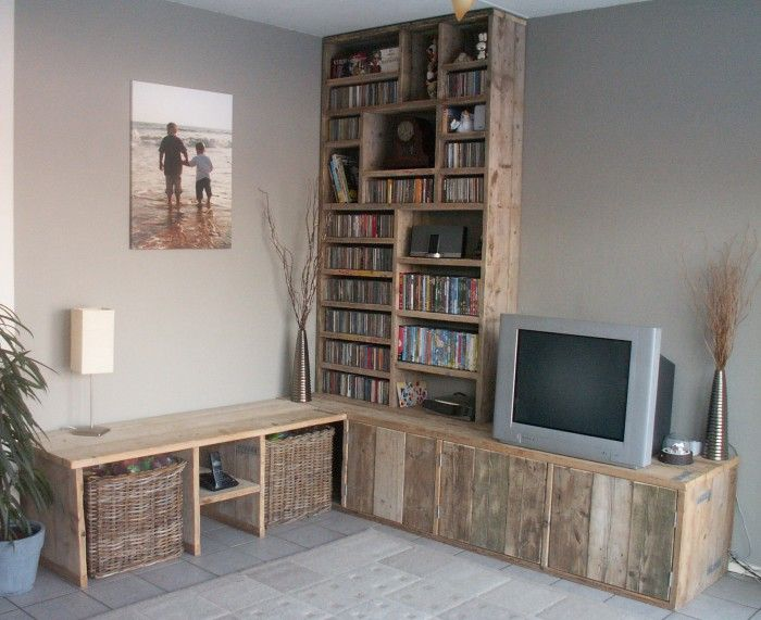 smalle woonkamer kast steigerhout - Google zoeken - woonkamer ...