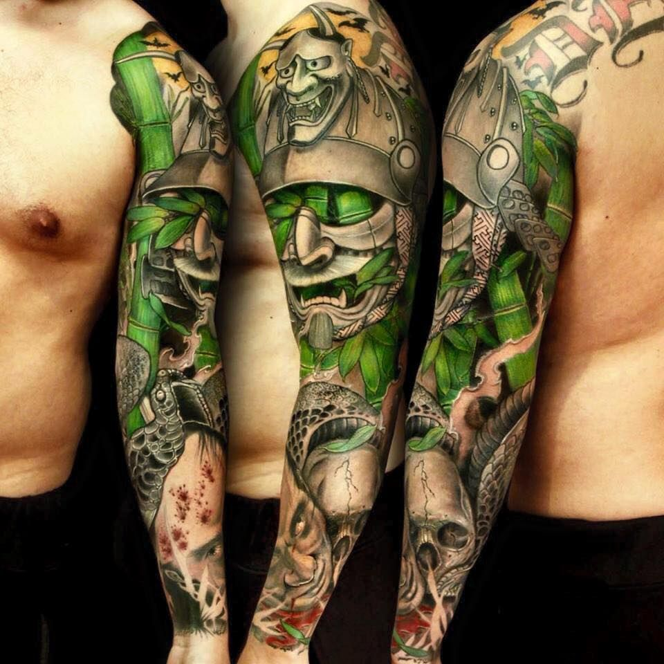 Japanese samurai warrior with kabuki mask tattoo by jess for Japanese sleeve tattoos meanings