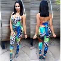 2016 Summer Style Ladies Strapless Jumpsuit Long Pants Floral Print Rompers Off Shoulder Backless Overalls Snake Skin Sexy
