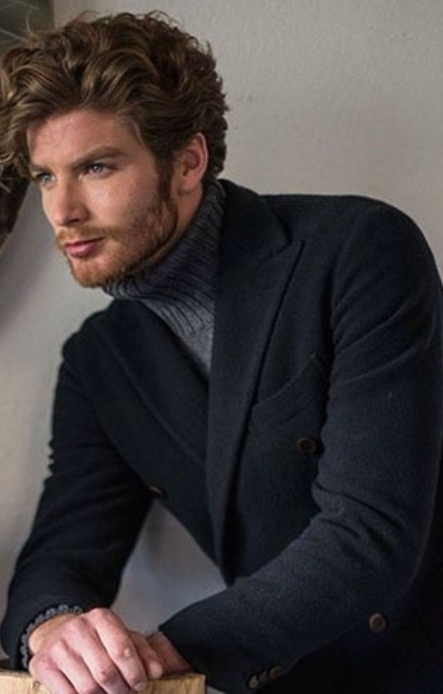 Charcoal Grey Knit Blazer, and Grey Turtleneck Sweater. Men's Fall ...