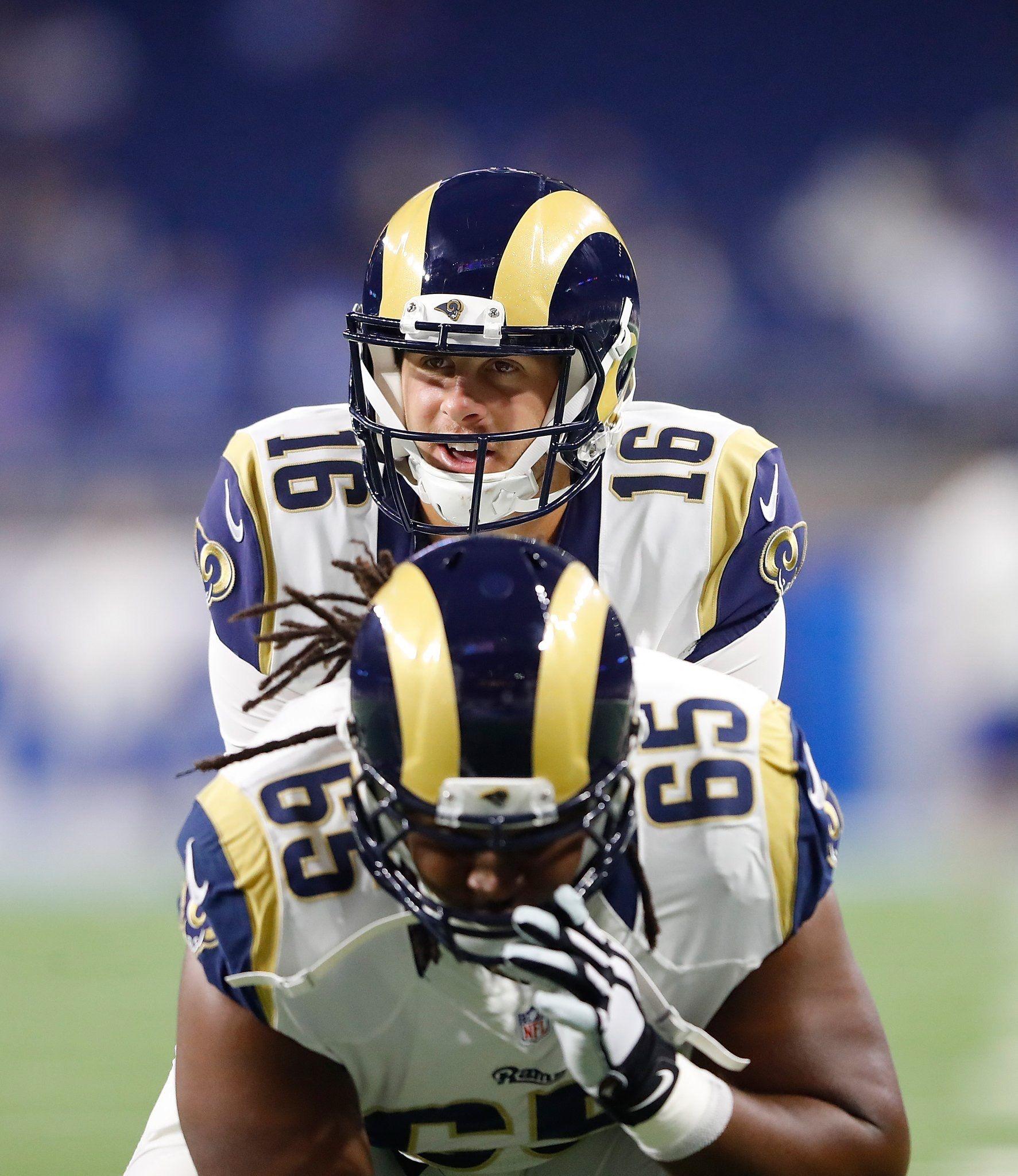 La Rams Jared Goff Qb 16 John Sullivan C 65 Rams Football Nfl Football Teams Nfl Rams