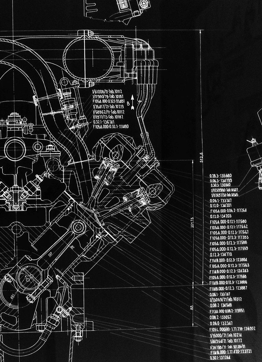 Internal-combustion Engine Patent Print Blueprint
