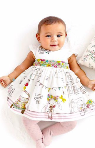 Next Girls 6 9 12 Months Natural White Ivory Sunny Bunny Cotton Lined Dress Little Girl Fashion Baby Girl Clothes Girl Outfits