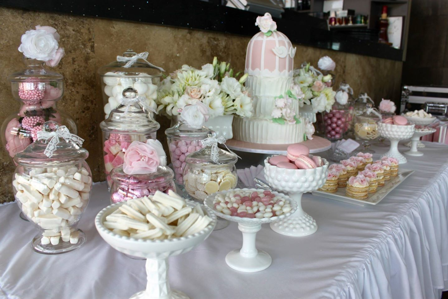 Pink And White Engagement Party Dessert Table Engagement Party Dessert Table White Engagement Party Engagement Party Decorations
