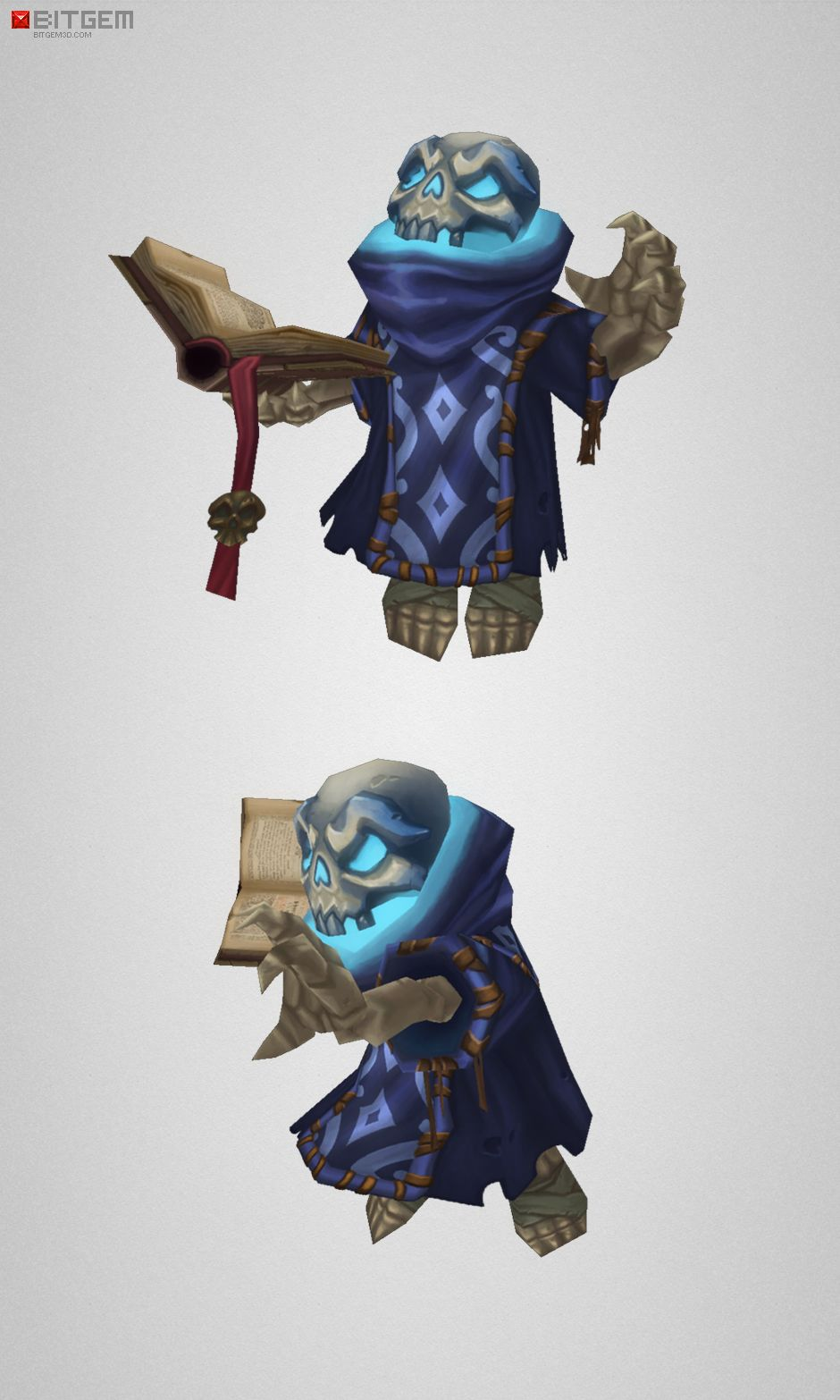 Low Poly Skeleton Mage | Character design | Low poly 3d