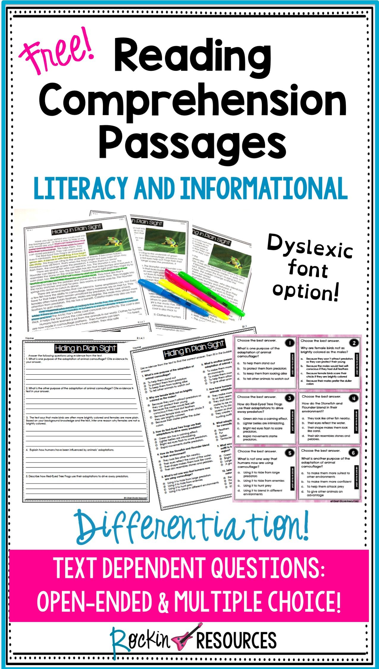 Reading Comprehension Passages and Questions Free for