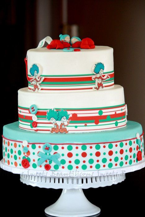 Dr. Seuss   Thing 1 And Thing 2 Baby Shower Cake