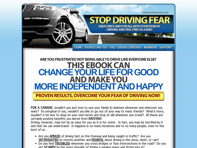 Cure Driving Fear Ebook Review  Get Full Review : http://scamereviews.typepad.com/blog/2013/06/cure-driving-fear-ebook.html