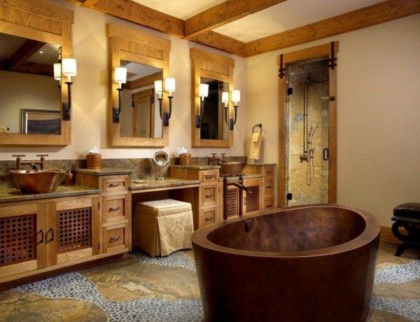 meubles de salle de bains baignoire en bois rustique cuivre tonne ...