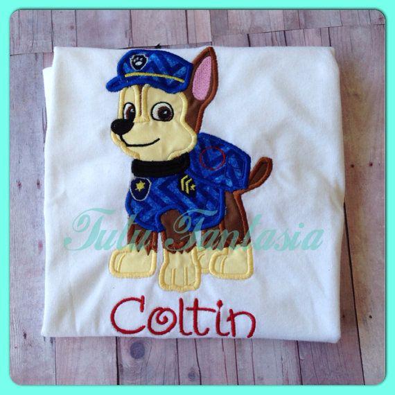Chase paw patrol inspired  birthday shirt  by TutuFantasia on Etsy, $20.00