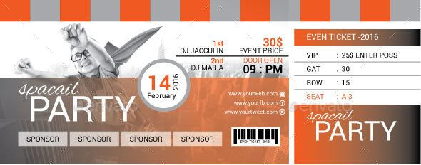 55 print ready ticket templates psd for various types of events