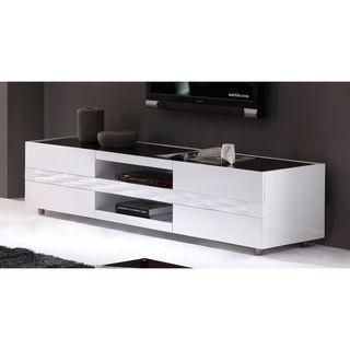 firenze white twodrawer modern tv stand
