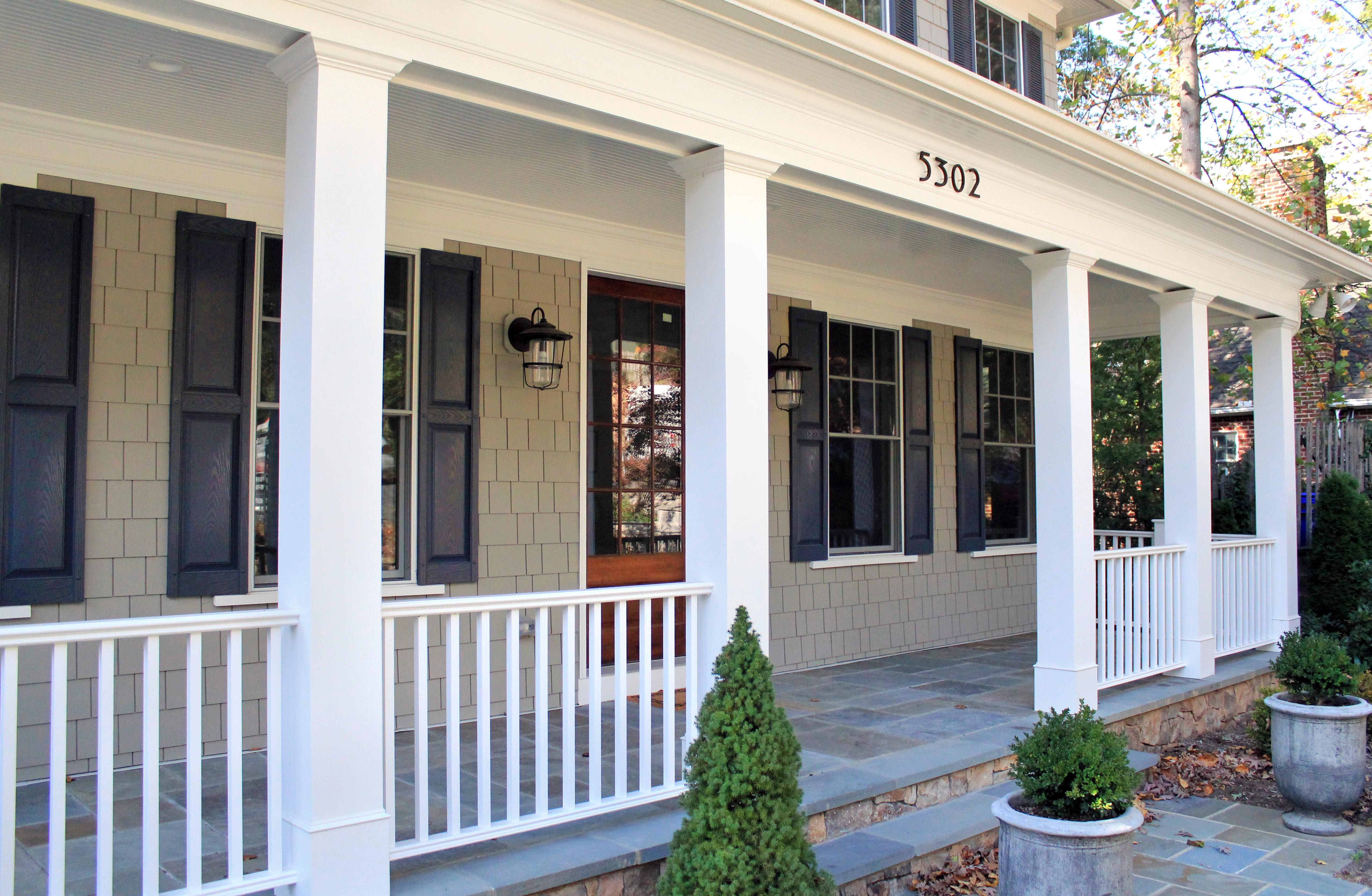 White Classic Style Porch Columns Create A Grand Look Porch Columns Patio Design Front Porch Addition