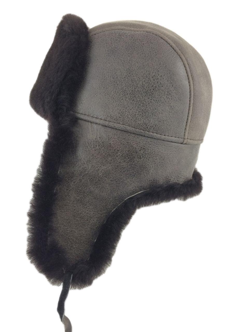 2ac30994c090d Shearling Sheepskin Aviator Winter Fur Hat - Gray