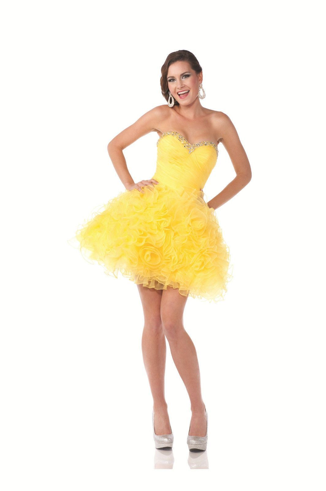 Sexy flirty short yellow strapless with rosette accented homecoming